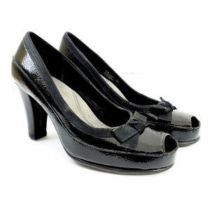 Aerosoles // Black Peep Toe Heeled Mary Jane Shoes